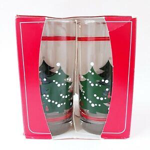 Waechtersbach Libbey Christmas Tree Tumblers Red Stripe Snow 16 oz Set of 4 NOS