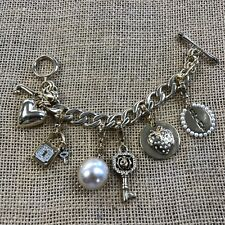 """Juicy Couture Gold Tone Link Chain 7.5"""" Bracelet & 5 Gold Tone Charms"""