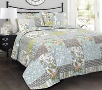 3pc ROESSER QUILT SET King or Queen Patchwork Floral Farmhouse Blue Reversible