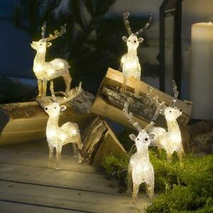 NEW (SET OF 5) WARM WHITE 40 LED ACRYLIC REINDEER/STAG christmas in/outdoor