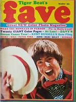 Tiger Beat Fave Oct 1967 Vtg Rare Teen Magazine Monkees - Color Photos - NoML GD
