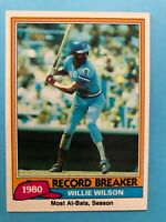 1981 Topps Card #208 Willie Wilson  Record Breaker Most at bats in  a season