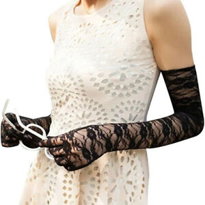 Ladies Mesh Stretchy Floral Long Gloves Lace Gothic Steampunk Fancy Dress Xmas'F