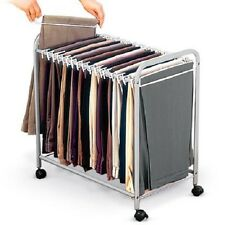 Rolling Pants Trolley Holds up to 18 Pairs Of Pants Closet Hanger Organizer