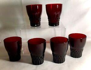 """6 Anchor Hocking Royal Ruby Windsor 3 5/8"""" 5 oz. Juice Tumblers"""