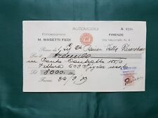 Rare Fiat 509 Spider 1929 payment receipt contract document Masetti