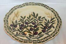 """New! Fitz & Floyd Mediterranean Olive Branch Large 13"""" Round Ceramic Platter"""