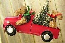 Airedale Terrier pair Metal Truck Ornament!
