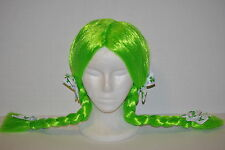 St. Patrick's Day Green Costume Pigtail Wig with Clover Leaf Bows, One Size