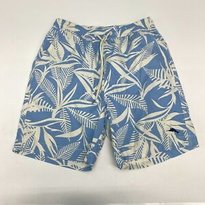 Tommy Bahama Relax Swim Shorts Mens Medium Blue White Drawstring Waist Polyester