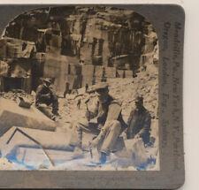 Men Chiseling Granite to be split Quarry Concord NH Keystone Stereoview c1900
