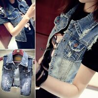 Women Washed Blue Denim Vest Sleeveless Cowboy Waistcoat Jeans Jacket Coat OO55