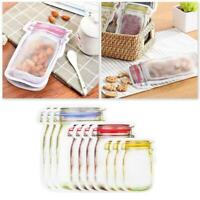10-20 Pcs/Set Mason Bottle Pattern Seal Bag Storage Bags Reusable Snack Ziplock