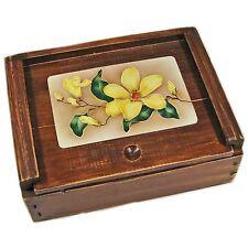 Decorative Dark Wood Trinket Box With Sliding Panel