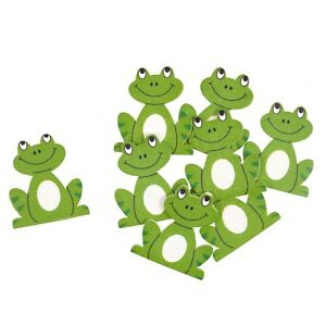 Wooden Frogs 8 Pack Self Adhesive Embellishments Craft For Occasions C2289