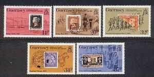 """GUERNSEY SCOTT MNH # 426-30  """"STAMPS ON STAMPS"""", VAL. $ 5.50"""