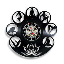 Yoga Modern Vintage Positions Silhouette Creative Vinyl Record Wall Clock Art