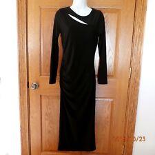 Venus Black Three Cut Out Neck Dress Side Ruching Sz Medium M EUC A636