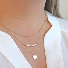 Golden 3 Layer Chain Necklace Pearl Beads Paillette Pendant Choker Women Charm