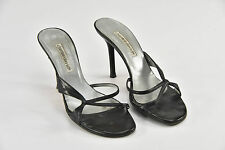Charles David Black Leather Strappy Slide On Mules Sandals Heels - R183