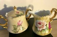 Hand Painted Vintage Lefton Sugar Bowl  & Creamer in Heritage Brown No. 1867