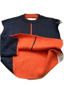 adenauer co damen Pullover,dunkelblau Orange, doppelstrick,Gr XS, w.Neu