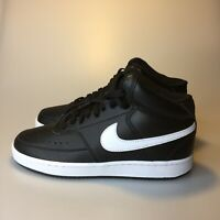 Nike Women's Court Vision Mid Shoes Black White Leather CD5436-001 Size 6.5