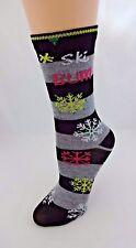 Snowflake socks black gray stripes ski bum crew length cotton polyester
