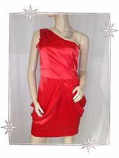 D - Magnifique Robe Habillée Asymétrique Drapée Rouge Stass Jasmine London T- 38