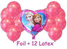 Frozen Anna Elsa Heart Foil + 12 Pink Latex Snowflake Balloons Helium Quality