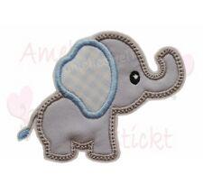 Elefant Applikation Aufbügler Aufnäher Patch Bügelbild Sticker hellgrau hellblau