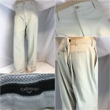 Callaway Golf Pants 40x30 Beige Poly Flat Front Worn Once YGI C8-408
