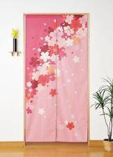Japan Cotton Pongee Cherry Blossoms Sakura Tree Long Type Noren Curtain Pink 33.