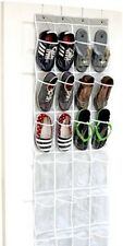 24 Pocket Crystal Clear Over The Door Hanging Shoe Organizer Gray 64'' x 19''