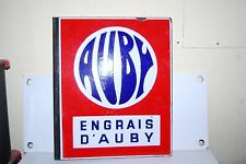 PLAQUE EMAILLEE ENGRAIS D'AUBY DOUBLE FACE EMAILLERIE ALSACIENNE 48 X 40 CM