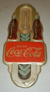 "Vintage Drink Coca-Cola Litho Metal Sign Advertising 15.5"" Missing Thermometer"