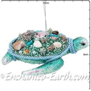 Gisela Graham - Magical Under The Sea Decorations -Large Beaded Turtle - 14cm