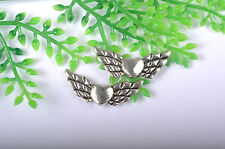 lots 20Pcs Tibetan Silver Lovely Angel Wing Spacer Beads 22X9MM C57