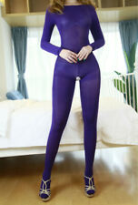 Purple Velvet Anti-Hook Bodystocking Bodyhose Semitransparent Catsuit Bodysuit