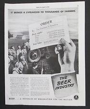 The Beer Industry United Brewers Promotional Original Vintage 1939 Print Ad