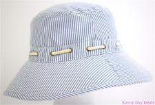 Sperry Top-Sider Bucket Hat Womens Striped Seersucker Nautical Blue White OS