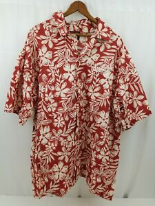 Krazy Klothes LTD Mens Hawaiian Shirt Short Sleeve Button Down Red Floral L/XL