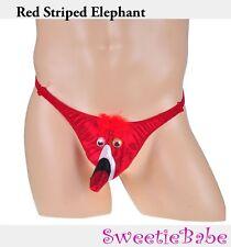 Men's Red Strpied Elephant Pouch Joke Funny Peacock Sexy T-Back Novelty Underwea