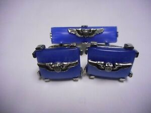 VINTAGE CUFF LINKS  AND TIE BAR PILOT WINGS VERY NICE QUALITY