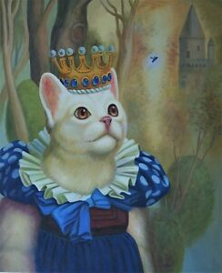 "High Quality Oil Painting ""Dress Cat #007"" 24""x20"""