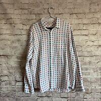 Carbon 2 Cobalt Men's Size XL White Colorful Plaid Long Sleeve Button Down Shirt