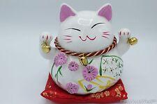Japanese Feng Shui Maneki Neko Beckon Lucky Cat Wave Bells Ceramic Piggy Bank