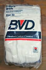 1980's Vintage 3-Pair Nos White Cotton Bvd Underwear Briefs Sz 30