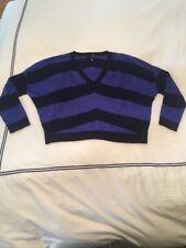 AQUA Mitered Stripe Drop Shoulder Cashmere Sweater As Seen On Kristen Stewart L