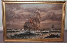 VINTAGE SIGNED ORIGINAL GALLEON OIL PAINTING GARBIN